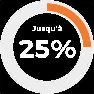 Jusqu'à 25%