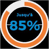 Jusqu'à 85%