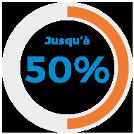 Jusqu'à 50%