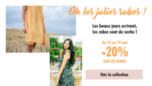 Exemple de promotion pour des robes d'été, campagnes parfaites pour générer de la connaissance clients