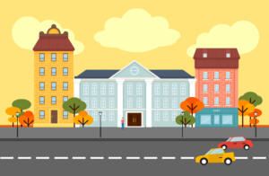 Autumn city landscape concept with government cafe hotel buildings trees people moving cars on road vector illustration